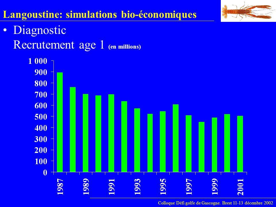 Langoustine: simulations bio-économiques Diagnostic Recrutement age 1 (en millions) Colloque Défi golfe de Gascogne. Brest 11-13 décembre 2002