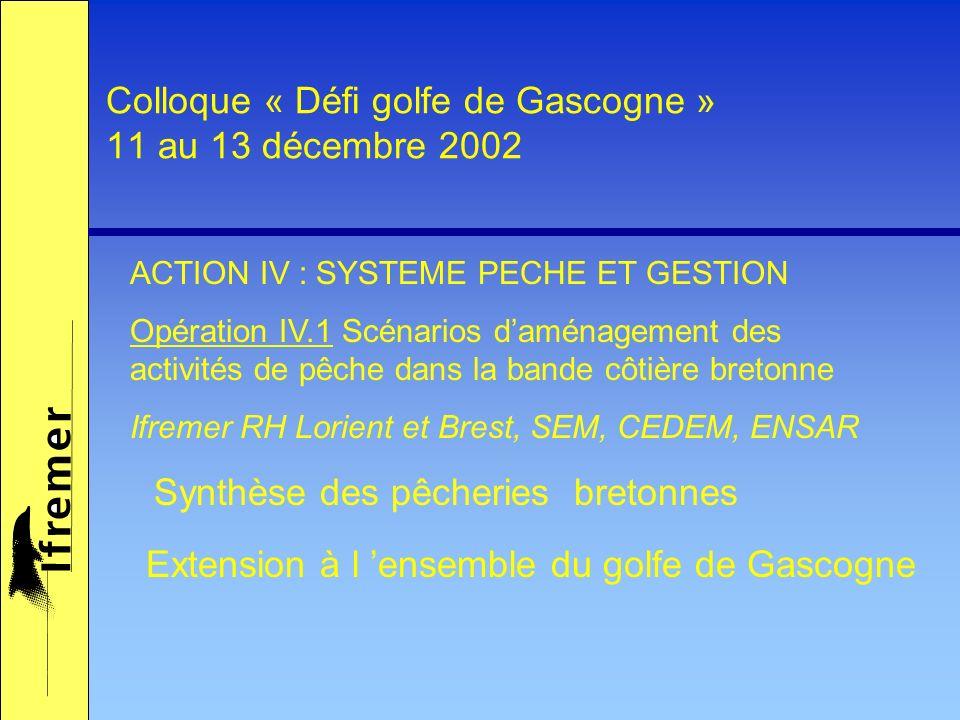 Colloque « Défi golfe de Gascogne » 11 au 13 décembre 2002 Synthèse des pêcheries bretonnes ACTION IV : SYSTEME PECHE ET GESTION Opération IV.1 Scénarios daménagement des activités de pêche dans la bande côtière bretonne Ifremer RH Lorient et Brest, SEM, CEDEM, ENSAR Extension à l ensemble du golfe de Gascogne
