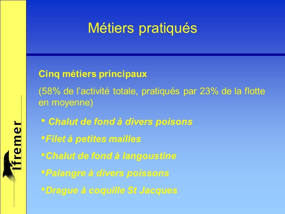 Métiers pratiqués Cinq métiers principaux (58% de lactivité totale, pratiqués par 23% de la flotte en moyenne) Chalut de fond à divers poisons Filet à petites mailles Chalut de fond à langoustine Palangre à divers poissons Drague à coquille St Jacques