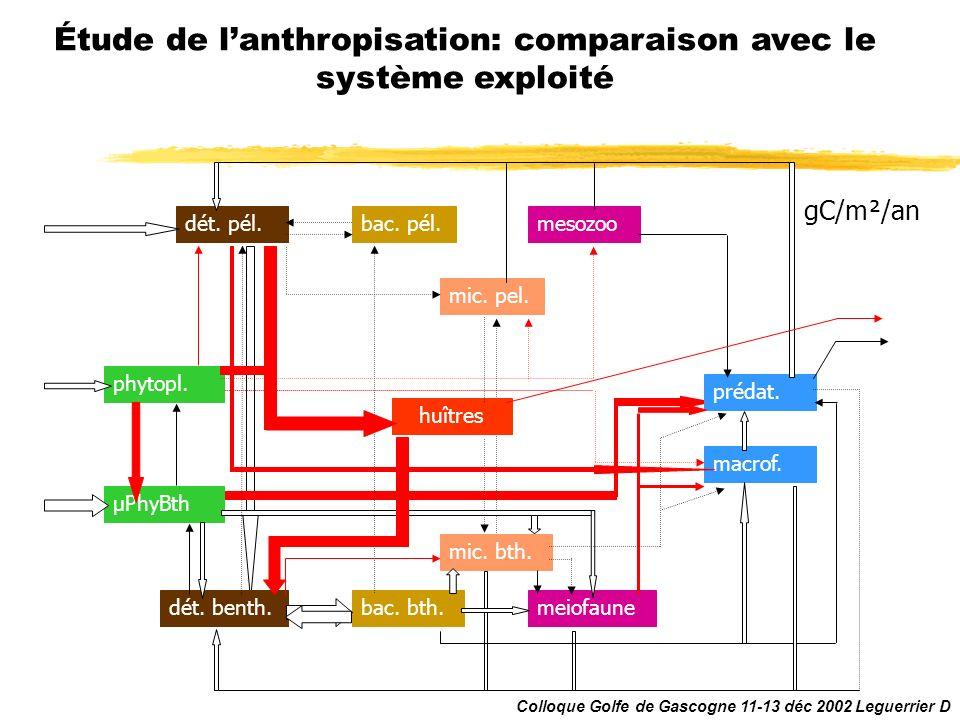 meiofaune mic. bth. phytopl. µPhyBth dét. benth. dét. pél.bac. pél. bac. bth. mic. pel. mesozoo prédat. macrof. huîtres Étude de lanthropisation: comp