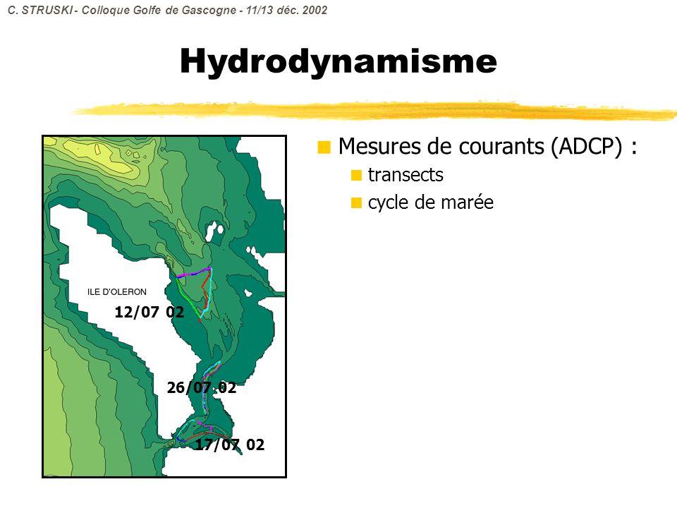 Mesures de courants (ADCP) : transects cycle de marée Hydrodynamisme 12/07 02 26/07 02 17/07 02 C. STRUSKI - Colloque Golfe de Gascogne - 11/13 déc. 2