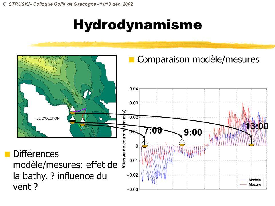 Comparaison modèle/mesures 7:00 9:00 Hydrodynamisme 13:00 Différences modèle/mesures: effet de la bathy. ? influence du vent ? C. STRUSKI - Colloque G