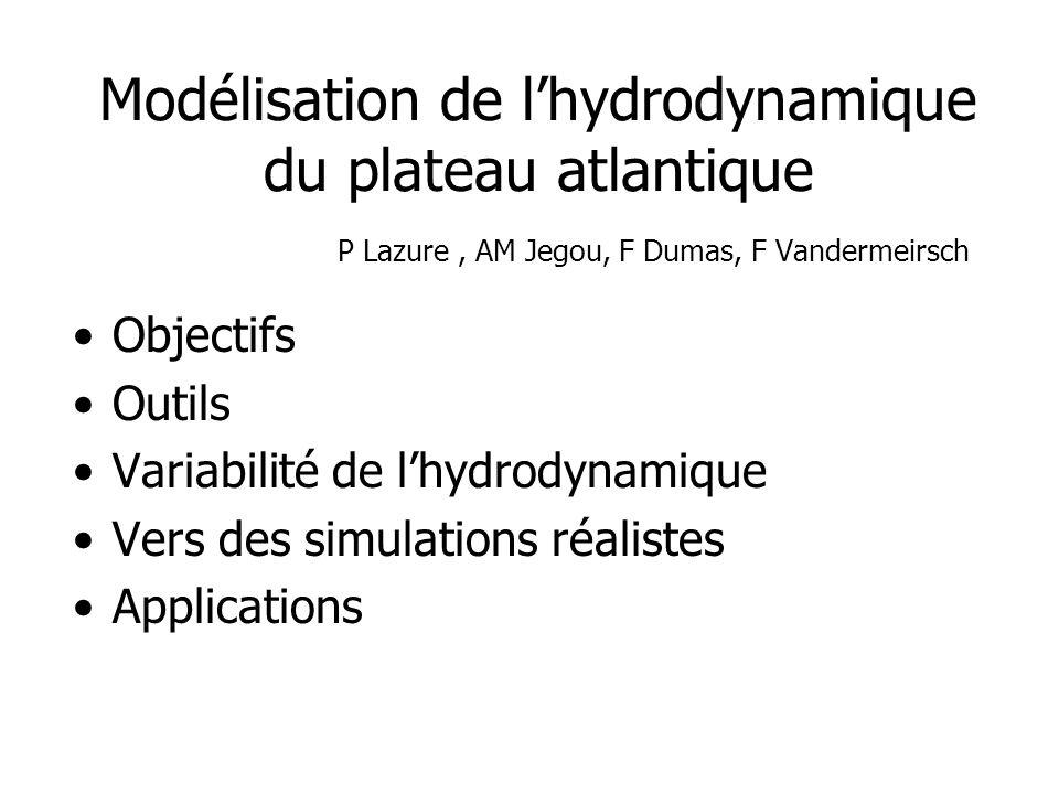 Modélisation de lhydrodynamique du plateau atlantique P Lazure, AM Jegou, F Dumas, F Vandermeirsch Objectifs Outils Variabilité de lhydrodynamique Ver