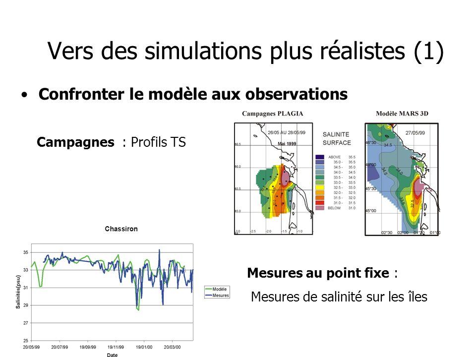 Vers des simulations plus réalistes (1) Confronter le modèle aux observations Campagnes : Profils TS Mesures au point fixe : Mesures de salinité sur l