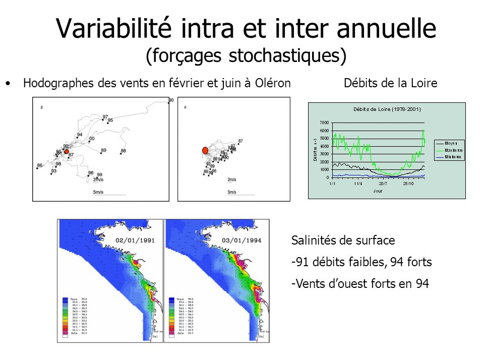 Variabilité intra et inter annuelle (forçages stochastiques) Hodographes des vents en février et juin à OléronDébits de la Loire Salinités de surface