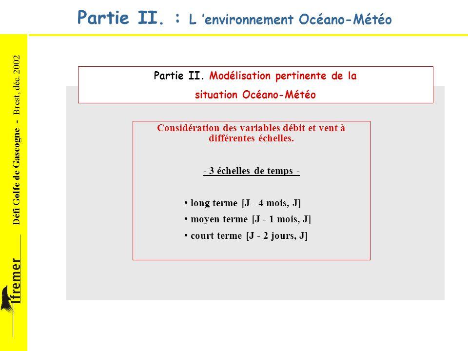 Défi Golfe de Gascogne - Brest, déc. 2002 Partie II. : L environnement Océano-Météo Partie II. Modélisation pertinente de la situation Océano-Météo Co