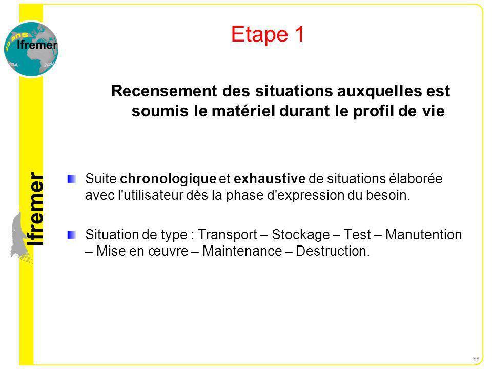 lfremer 11 Etape 1 Recensement des situations auxquelles est soumis le matériel durant le profil de vie Suite chronologique et exhaustive de situation