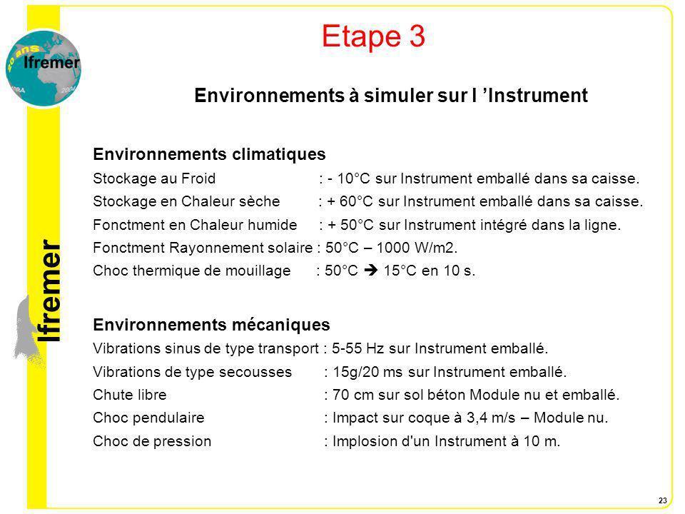 lfremer 23 Etape 3 Environnements à simuler sur l Instrument Environnements climatiques Stockage au Froid : - 10°C sur Instrument emballé dans sa cais