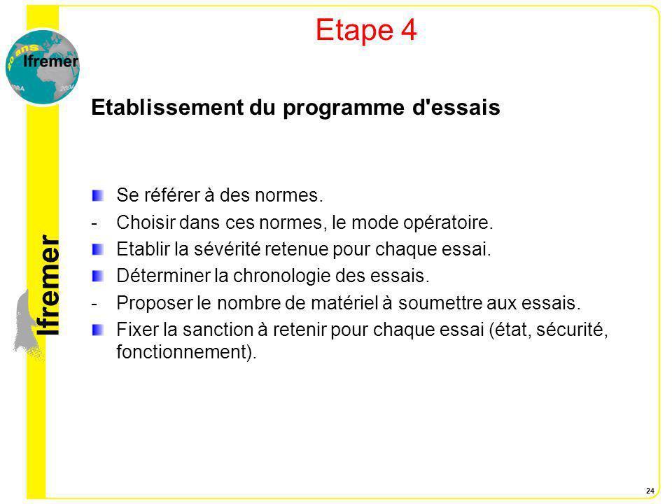 lfremer 24 Etape 4 Etablissement du programme d'essais Se référer à des normes. -Choisir dans ces normes, le mode opératoire. Etablir la sévérité rete