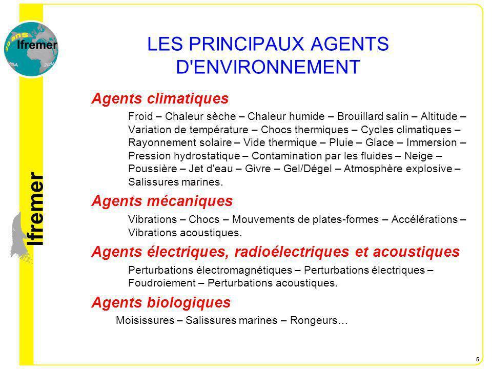 lfremer 5 LES PRINCIPAUX AGENTS D'ENVIRONNEMENT Agents climatiques Froid – Chaleur sèche – Chaleur humide – Brouillard salin – Altitude – Variation de
