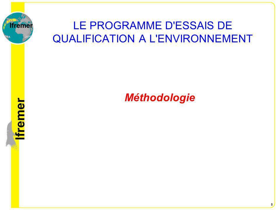 lfremer 8 LE PROGRAMME D'ESSAIS DE QUALIFICATION A L'ENVIRONNEMENT Méthodologie