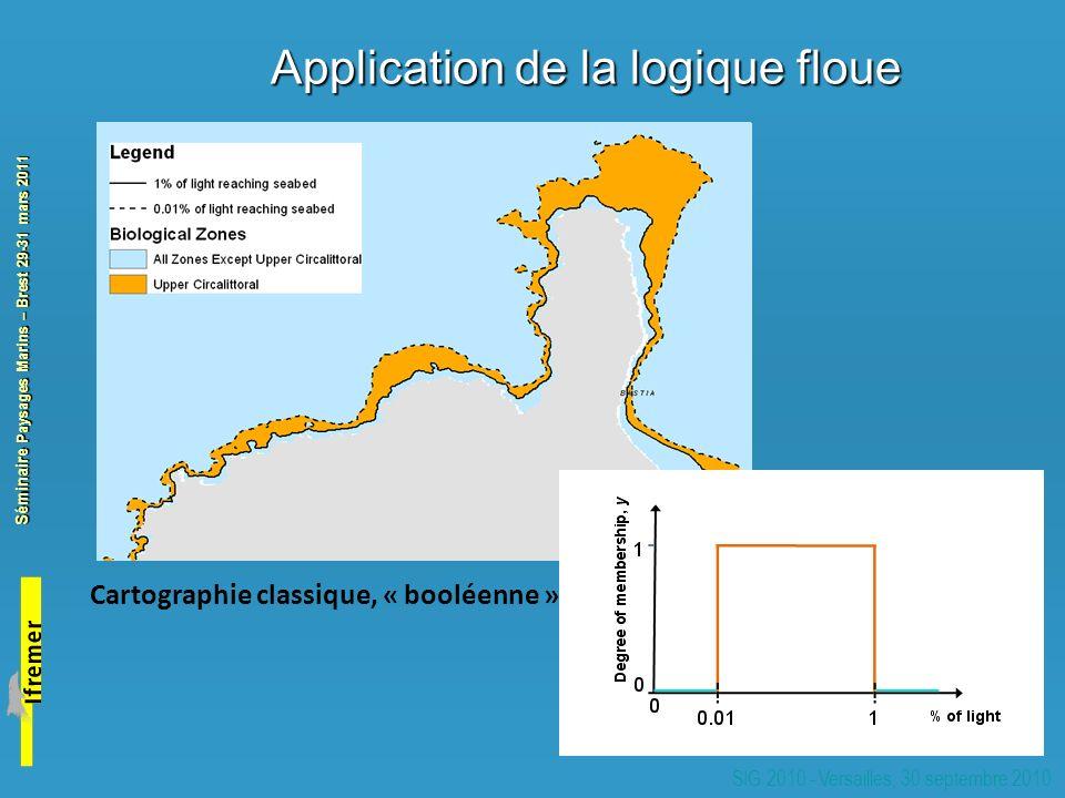 Séminaire Paysages Marins – Brest 29-31 mars 2011 SIG 2010 - Versailles, 30 septembre 2010 Application de la logique floue Cartographie classique, « booléenne »