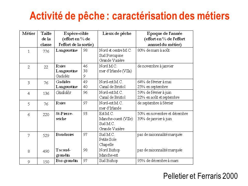 Activité de pêche : caractérisation des métiers Pelletier et Ferraris 2000
