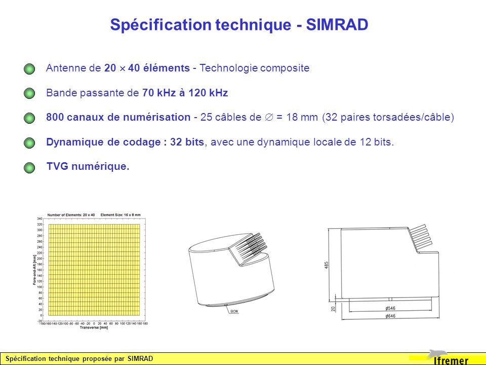 Spécification technique - SIMRAD Antenne de 20 40 éléments - Technologie composite Bande passante de 70 kHz à 120 kHz 800 canaux de numérisation - 25