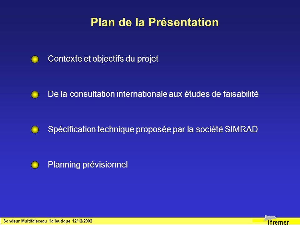 Plan de la Présentation Contexte et objectifs du projet De la consultation internationale aux études de faisabilité Spécification technique proposée p