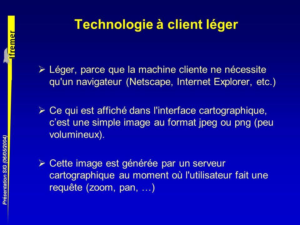 Présentation SIG (06/05/2004) Technologie à client léger Léger, parce que la machine cliente ne nécessite qu'un navigateur (Netscape, Internet Explore