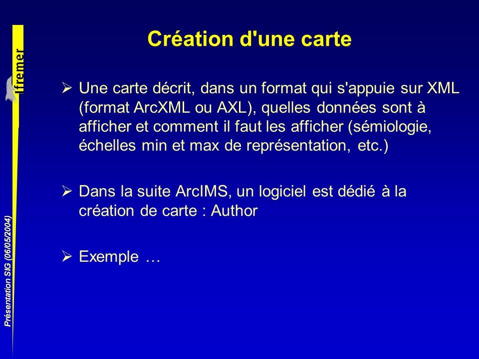 Présentation SIG (06/05/2004) Création d'une carte Une carte décrit, dans un format qui s'appuie sur XML (format ArcXML ou AXL), quelles données sont