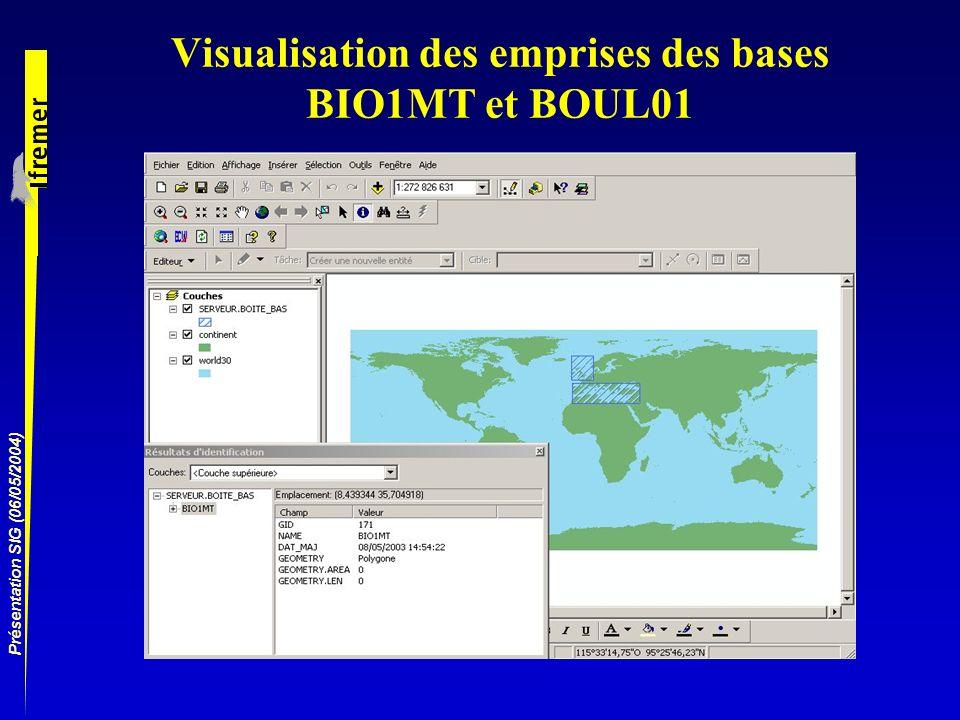 Présentation SIG (06/05/2004) Visualisation des emprises des bases BIO1MT et BOUL01
