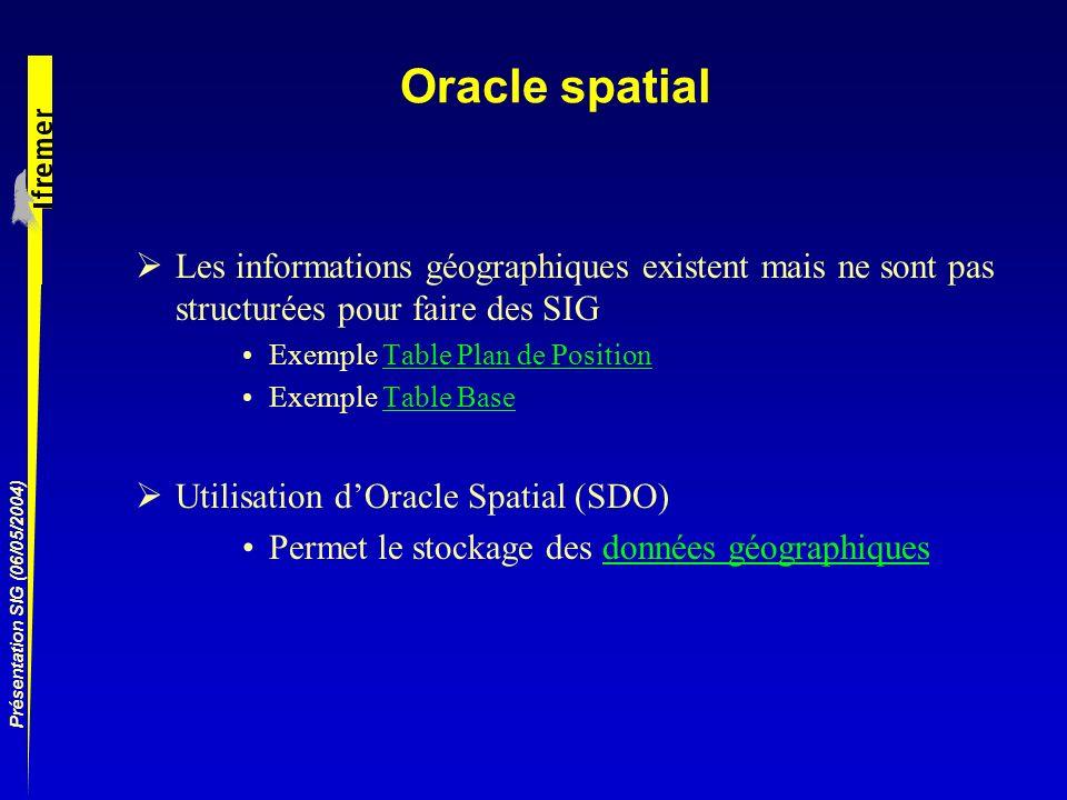 Présentation SIG (06/05/2004) Oracle spatial Les informations géographiques existent mais ne sont pas structurées pour faire des SIG Exemple Table Pla