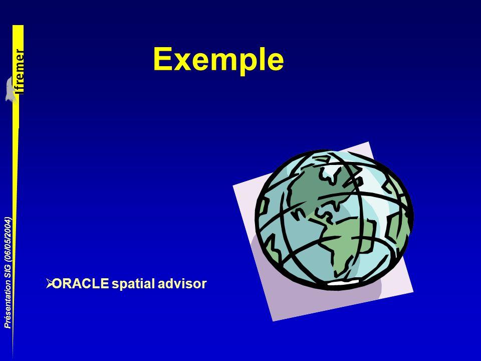 Présentation SIG (06/05/2004) Exemple ORACLE spatial advisor