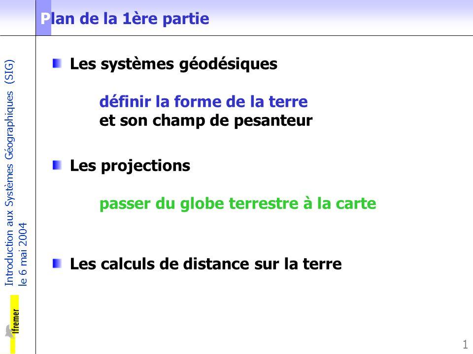 Introduction aux Systèmes Géographiques (SIG) le 6 mai 2004 1 Plan de la 1ère partie Les systèmes géodésiques définir la forme de la terre et son cham