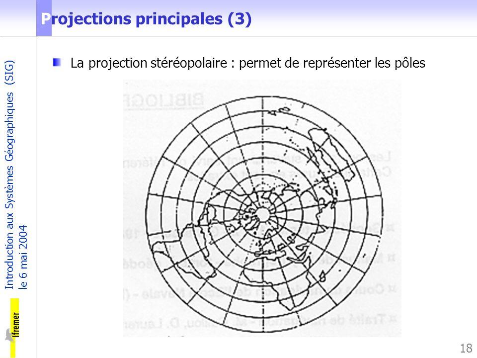 Introduction aux Systèmes Géographiques (SIG) le 6 mai 2004 18 Projections principales (3) La projection stéréopolaire : permet de représenter les pôl