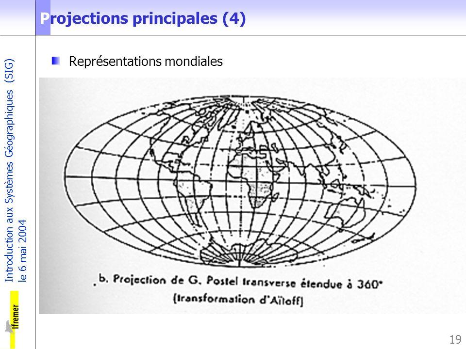 Introduction aux Systèmes Géographiques (SIG) le 6 mai 2004 19 Projections principales (4) Représentations mondiales