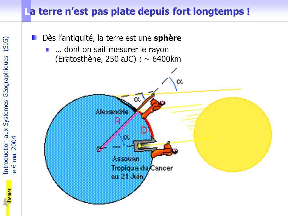 Introduction aux Systèmes Géographiques (SIG) le 6 mai 2004 2 La terre nest pas plate depuis fort longtemps ! Dès lantiquité, la terre est une sphère
