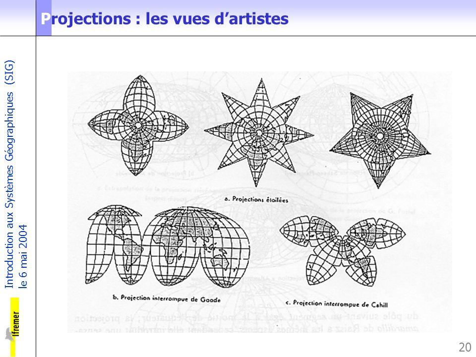 Introduction aux Systèmes Géographiques (SIG) le 6 mai 2004 20 Projections : les vues dartistes