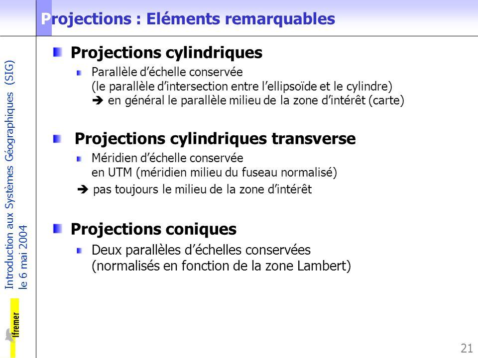 Introduction aux Systèmes Géographiques (SIG) le 6 mai 2004 21 Projections : Eléments remarquables Projections cylindriques Parallèle déchelle conserv
