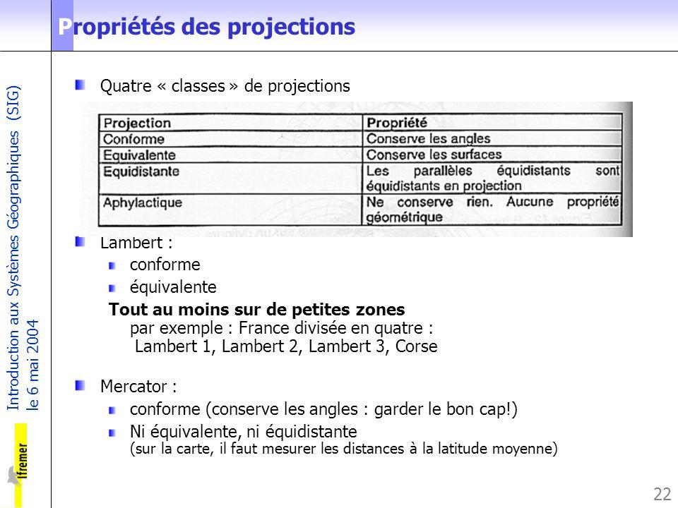 Introduction aux Systèmes Géographiques (SIG) le 6 mai 2004 22 Propriétés des projections Quatre « classes » de projections Lambert : conforme équival
