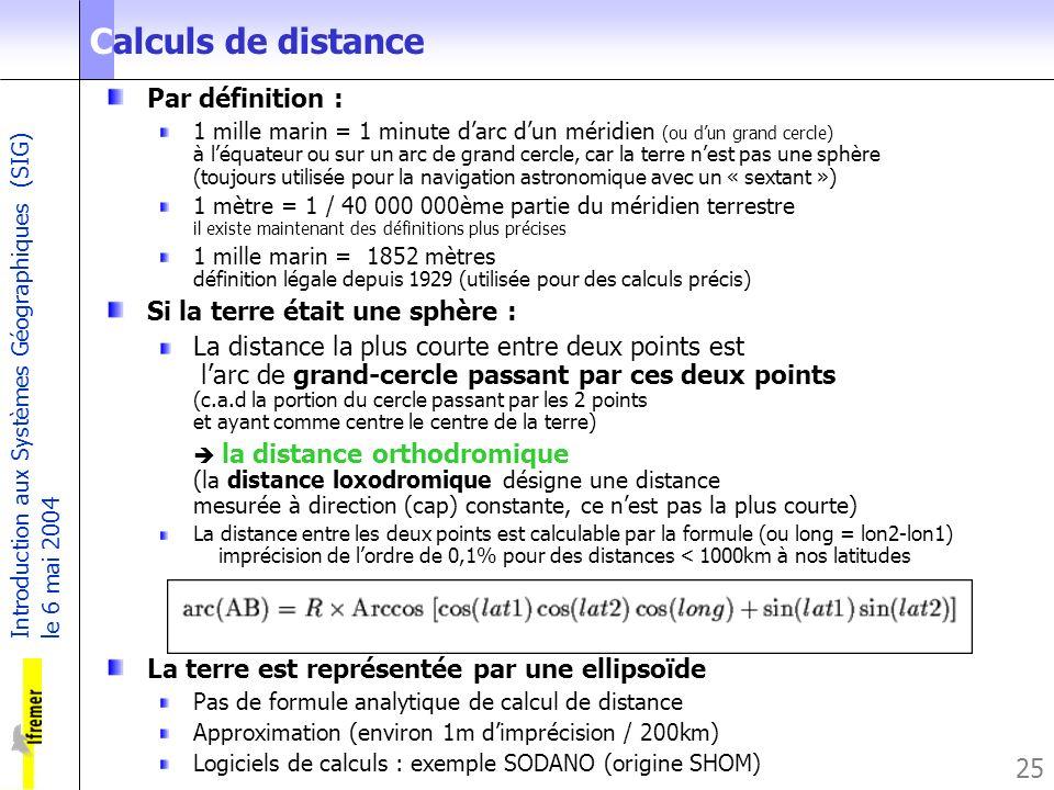 Introduction aux Systèmes Géographiques (SIG) le 6 mai 2004 25 Par définition : 1 mille marin = 1 minute darc dun méridien (ou dun grand cercle) à léq