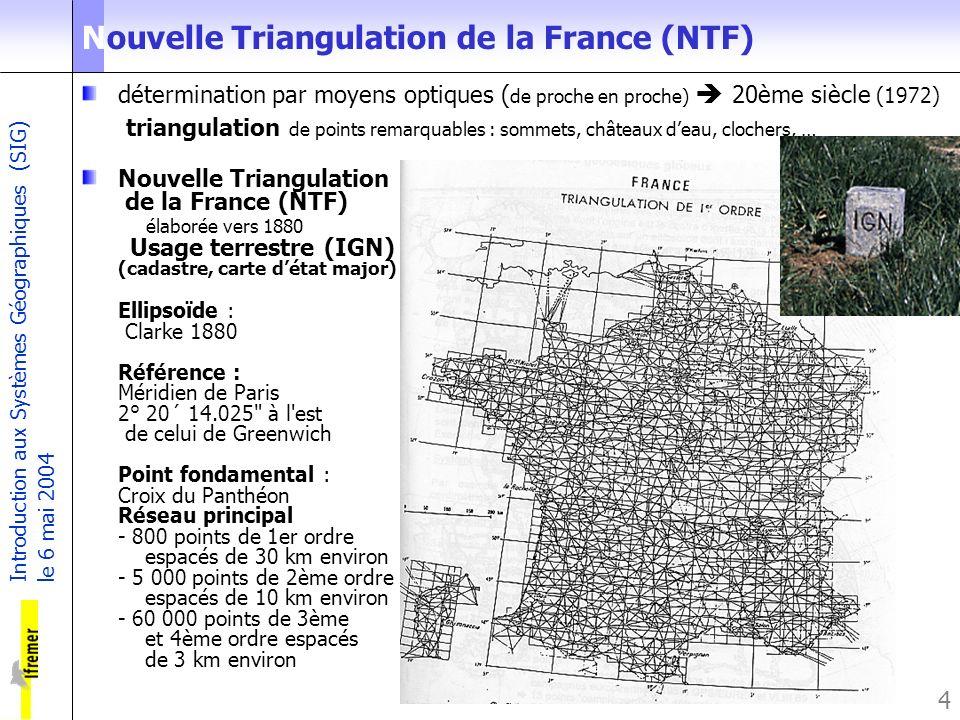 Introduction aux Systèmes Géographiques (SIG) le 6 mai 2004 4 Nouvelle Triangulation de la France (NTF) détermination par moyens optiques ( de proche