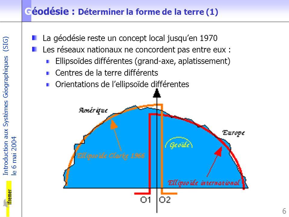 Introduction aux Systèmes Géographiques (SIG) le 6 mai 2004 6 Géodésie : Déterminer la forme de la terre (1) La géodésie reste un concept local jusque