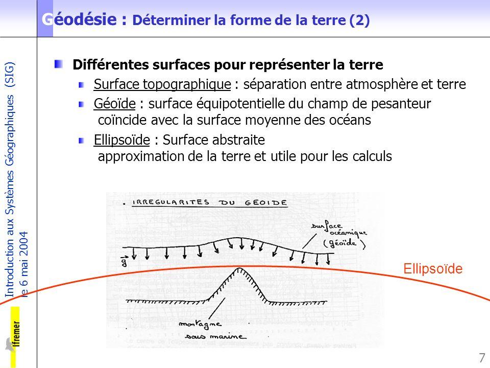 Introduction aux Systèmes Géographiques (SIG) le 6 mai 2004 7 Géodésie : Déterminer la forme de la terre (2) Différentes surfaces pour représenter la