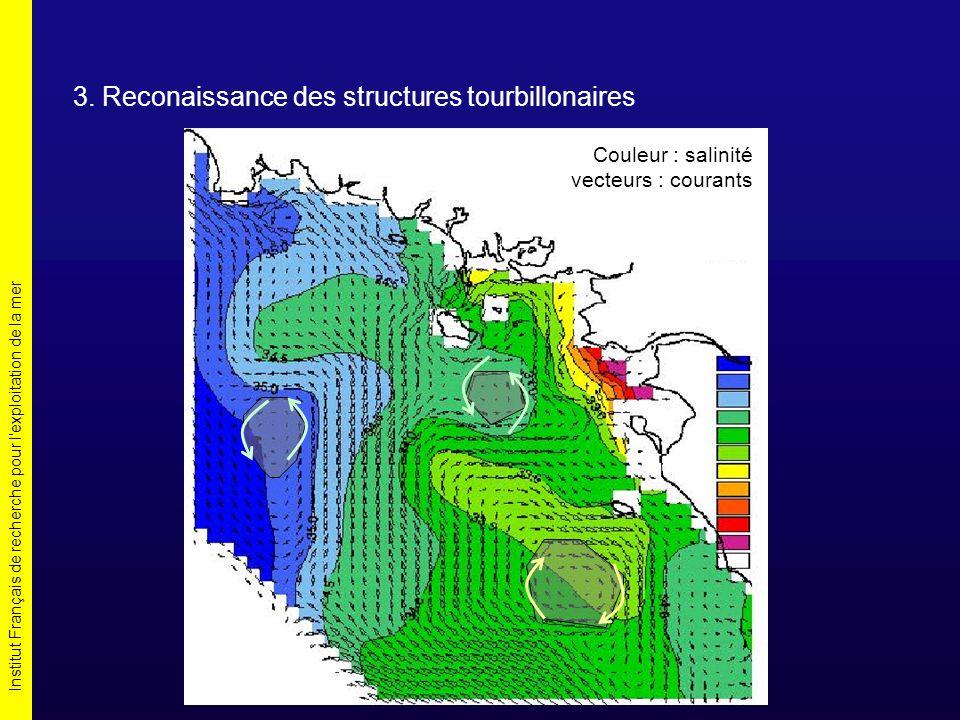 Institut Français de recherche pour l'exploitation de la mer 3. Reconaissance des structures tourbillonaires Couleur : salinité vecteurs : courants