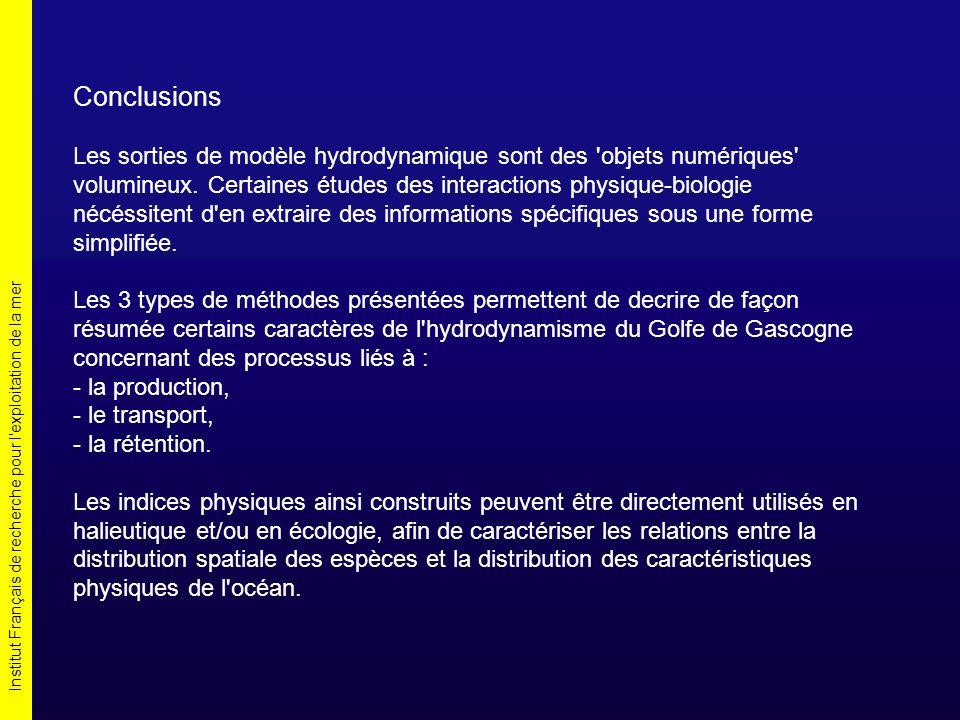 Institut Français de recherche pour l exploitation de la mer Conclusions Les sorties de modèle hydrodynamique sont des objets numériques volumineux.