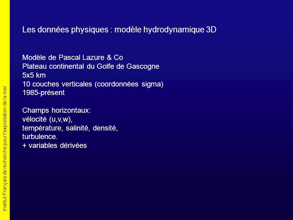Institut Français de recherche pour l exploitation de la mer Les données physiques : modèle hydrodynamique 3D Modèle de Pascal Lazure & Co Plateau continental du Golfe de Gascogne 5x5 km 10 couches verticales (coordonnées sigma) 1985-présent Champs horizontaux: vélocité (u,v,w), température, salinité, densité, turbulence.