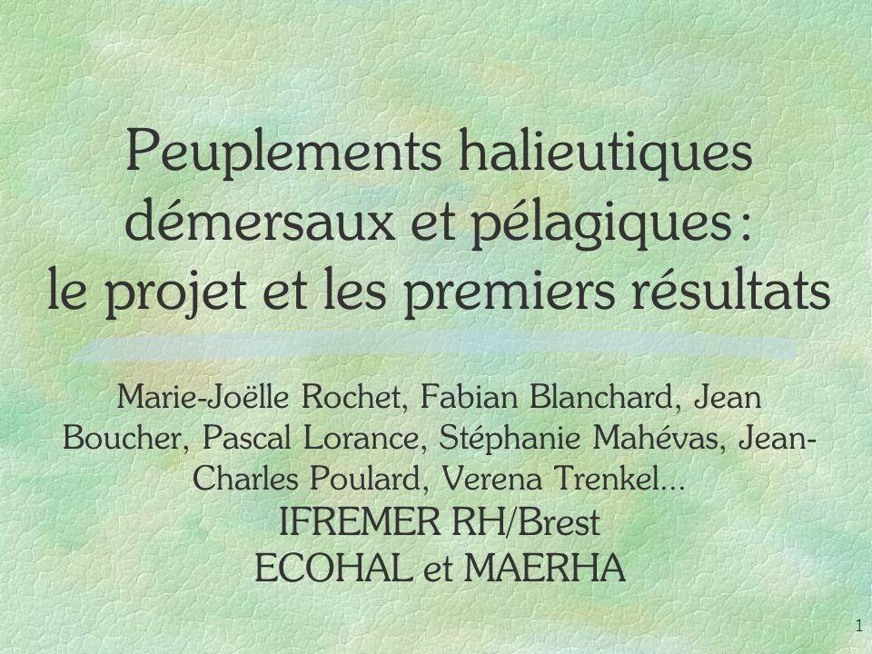 1 Peuplements halieutiques démersaux et pélagiques : le projet et les premiers résultats Marie-Joëlle Rochet, Fabian Blanchard, Jean Boucher, Pascal L
