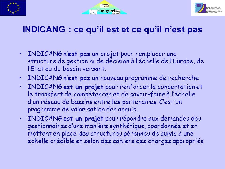 INDICANG : ce quil est et ce quil nest pas INDICANG nest pas un projet pour remplacer une structure de gestion ni de décision à léchelle de lEurope, de lEtat ou du bassin versant.