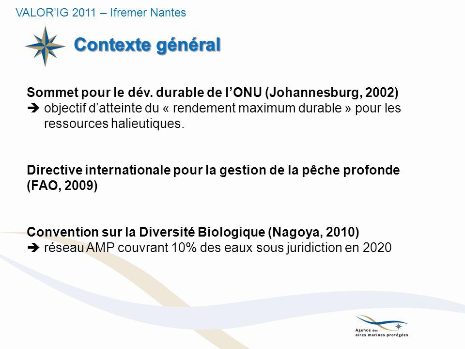 Grenelle de la mer (France, 2009) Engagements 14a, 21a et 21b objectif de 10% dAMP dans la mer territoriale dici à 2012, puis 20% dAMP sur lensemble des eaux françaises en 2020, dont la moitié en moyenne globale en réserve de pêche (réserve halieutique).