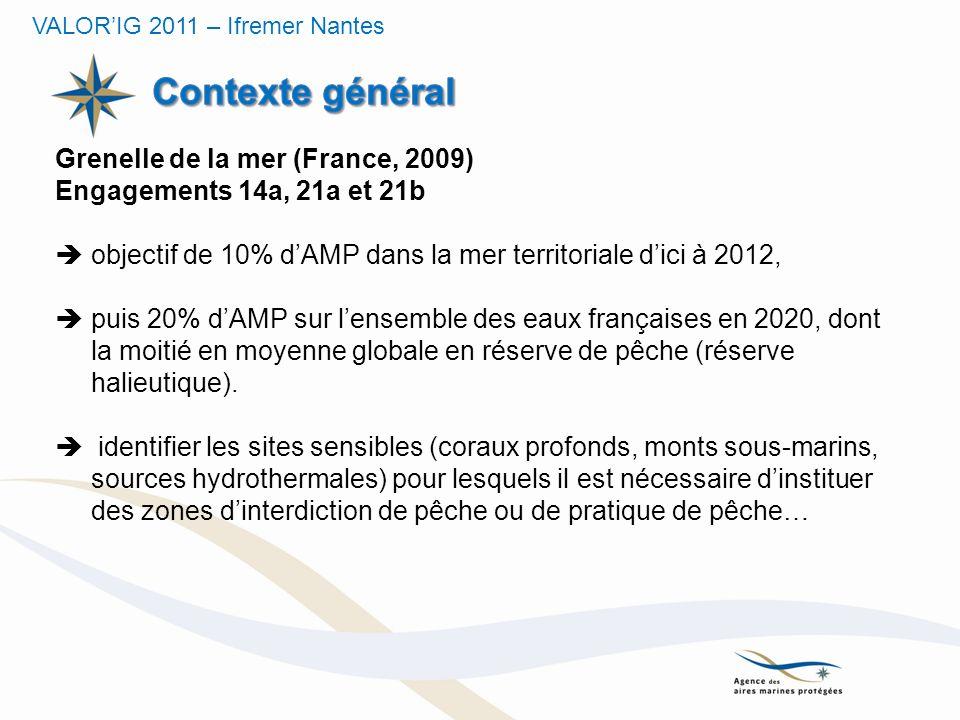 Grenelle de la mer (France, 2009) Engagements 14a, 21a et 21b objectif de 10% dAMP dans la mer territoriale dici à 2012, puis 20% dAMP sur lensemble d