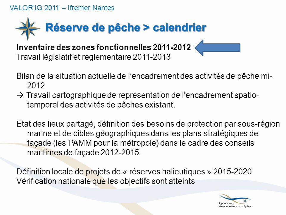 Inventaire des zones fonctionnelles 2011-2012 Travail législatif et réglementaire 2011-2013 Bilan de la situation actuelle de lencadrement des activit