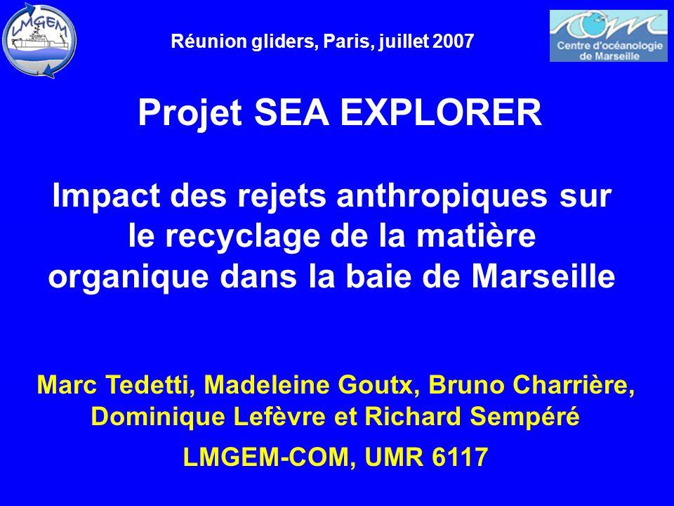 Projet SEA EXPLORER Marc Tedetti, Madeleine Goutx, Bruno Charrière, Dominique Lefèvre et Richard Sempéré LMGEM-COM, UMR 6117 Réunion gliders, Paris, j