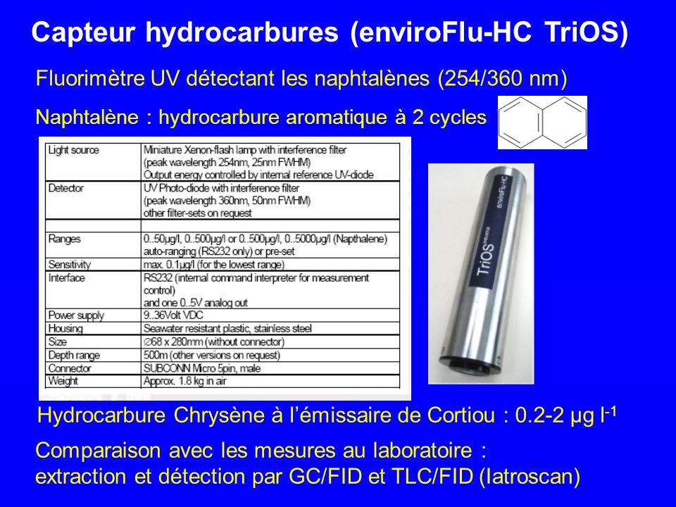 Naphtalène : hydrocarbure aromatique à 2 cycles Fluorimètre UV détectant les naphtalènes (254/360 nm) Capteur hydrocarbures (enviroFlu-HC TriOS) Compa