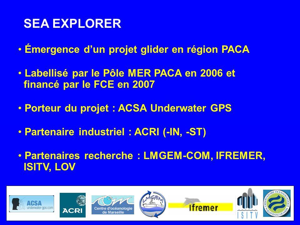 Émergence dun projet glider en région PACA Labellisé par le Pôle MER PACA en 2006 et financé par le FCE en 2007 Porteur du projet : ACSA Underwater GP
