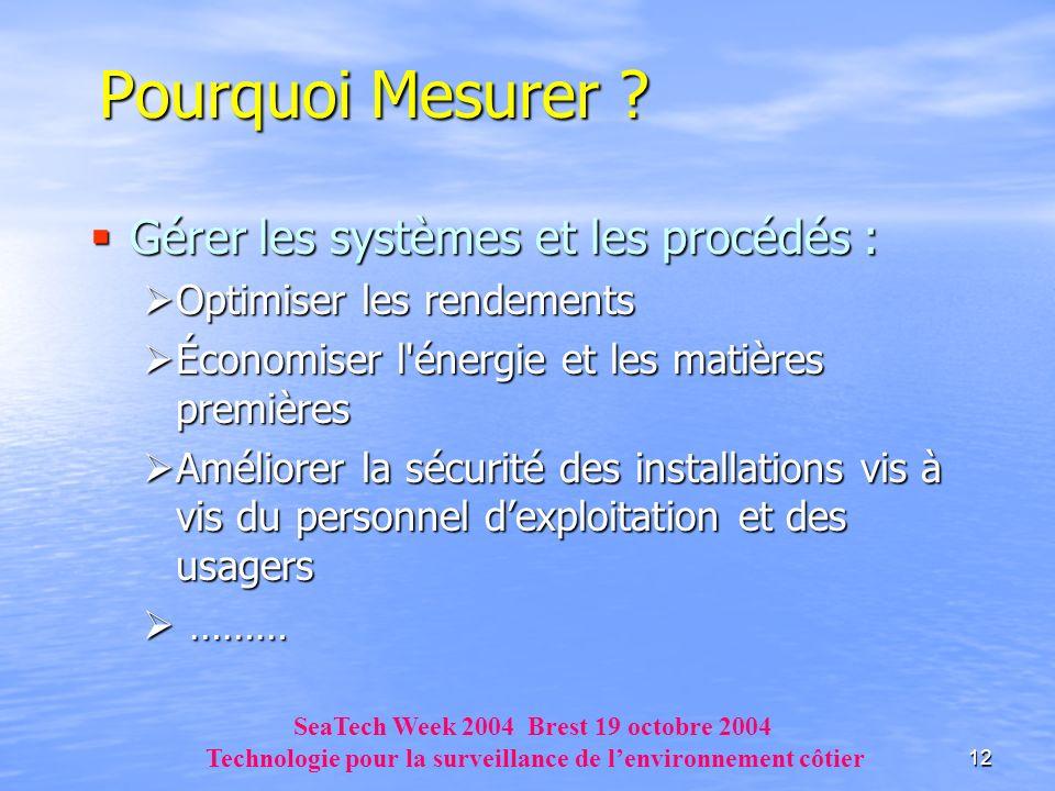 12 Pourquoi Mesurer ? Gérer les systèmes et les procédés : Gérer les systèmes et les procédés : Optimiser les rendements Optimiser les rendements Écon
