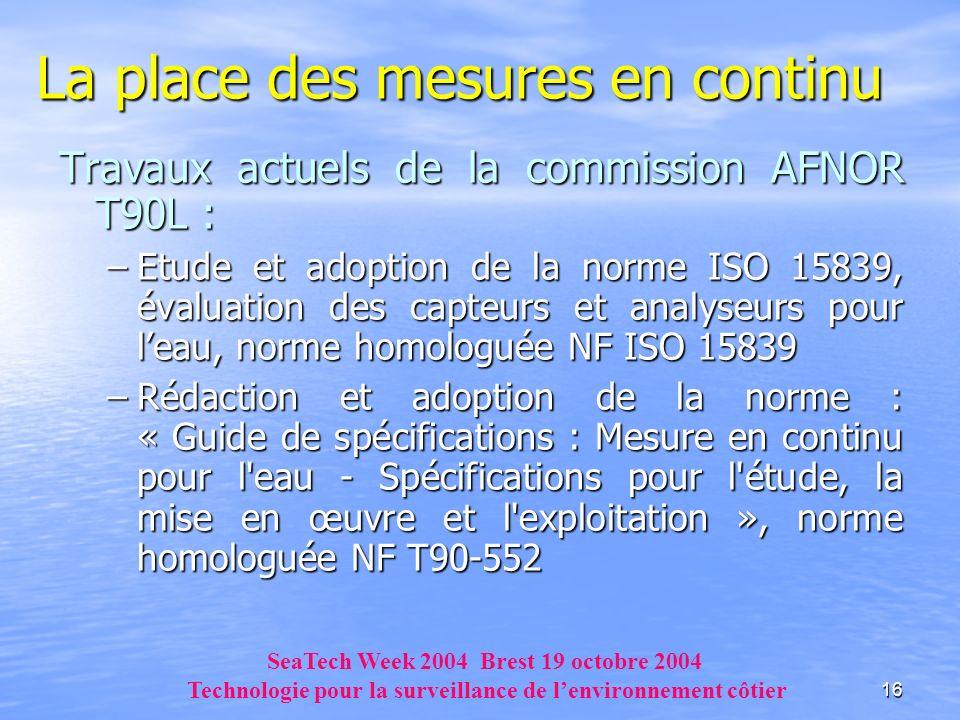 16 La place des mesures en continu Travaux actuels de la commission AFNOR T90L : –Etude et adoption de la norme ISO 15839, évaluation des capteurs et