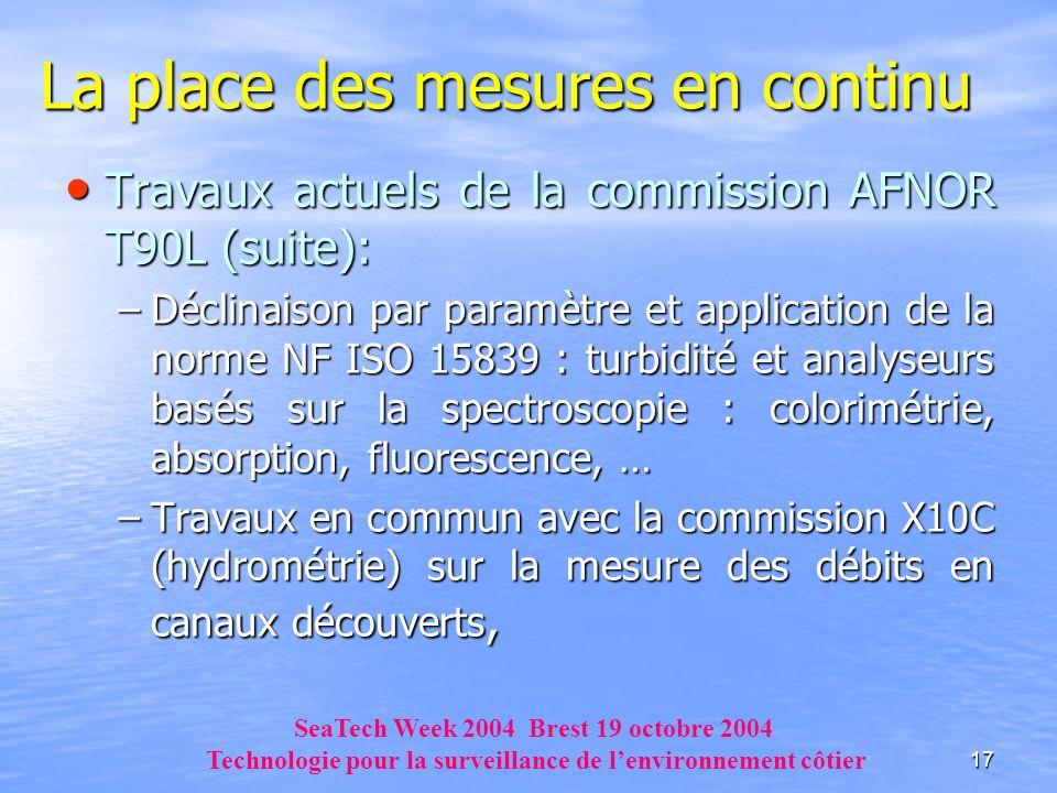 17 La place des mesures en continu Travaux actuels de la commission AFNOR T90L (suite): Travaux actuels de la commission AFNOR T90L (suite): –Déclinai