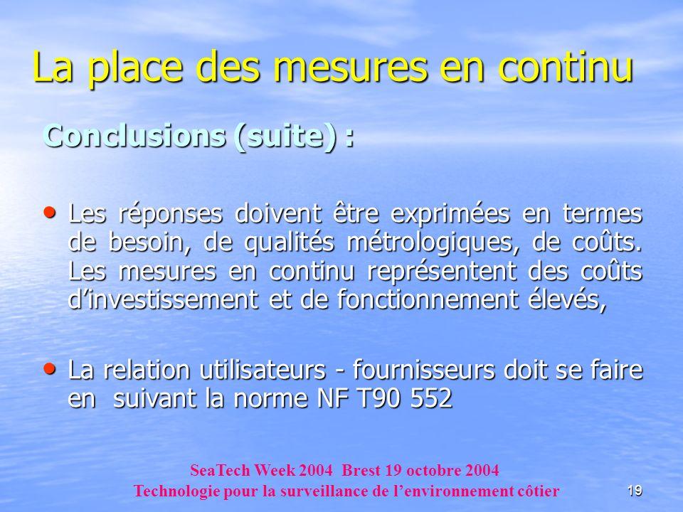 19 La place des mesures en continu Conclusions (suite) : Les réponses doivent être exprimées en termes de besoin, de qualités métrologiques, de coûts.